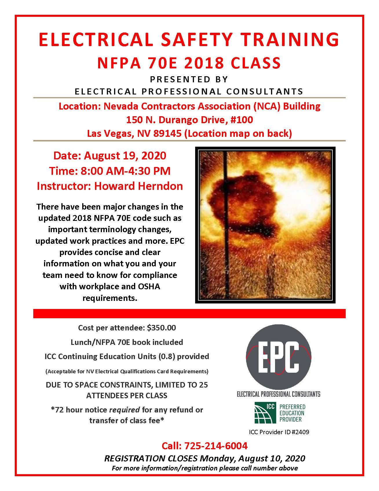 NFPA 70E 2018 Training 08-19-20